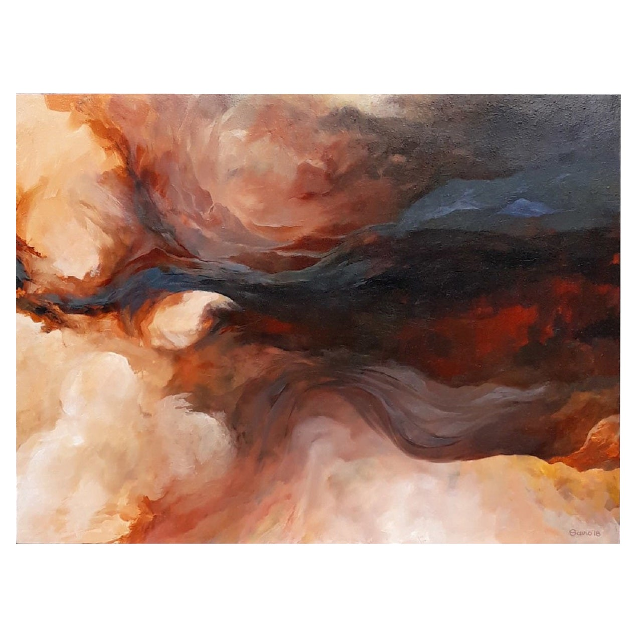 """Framed Oil on Canvas """"The Tempest"""" Abstract Scene by Dino Savio"""