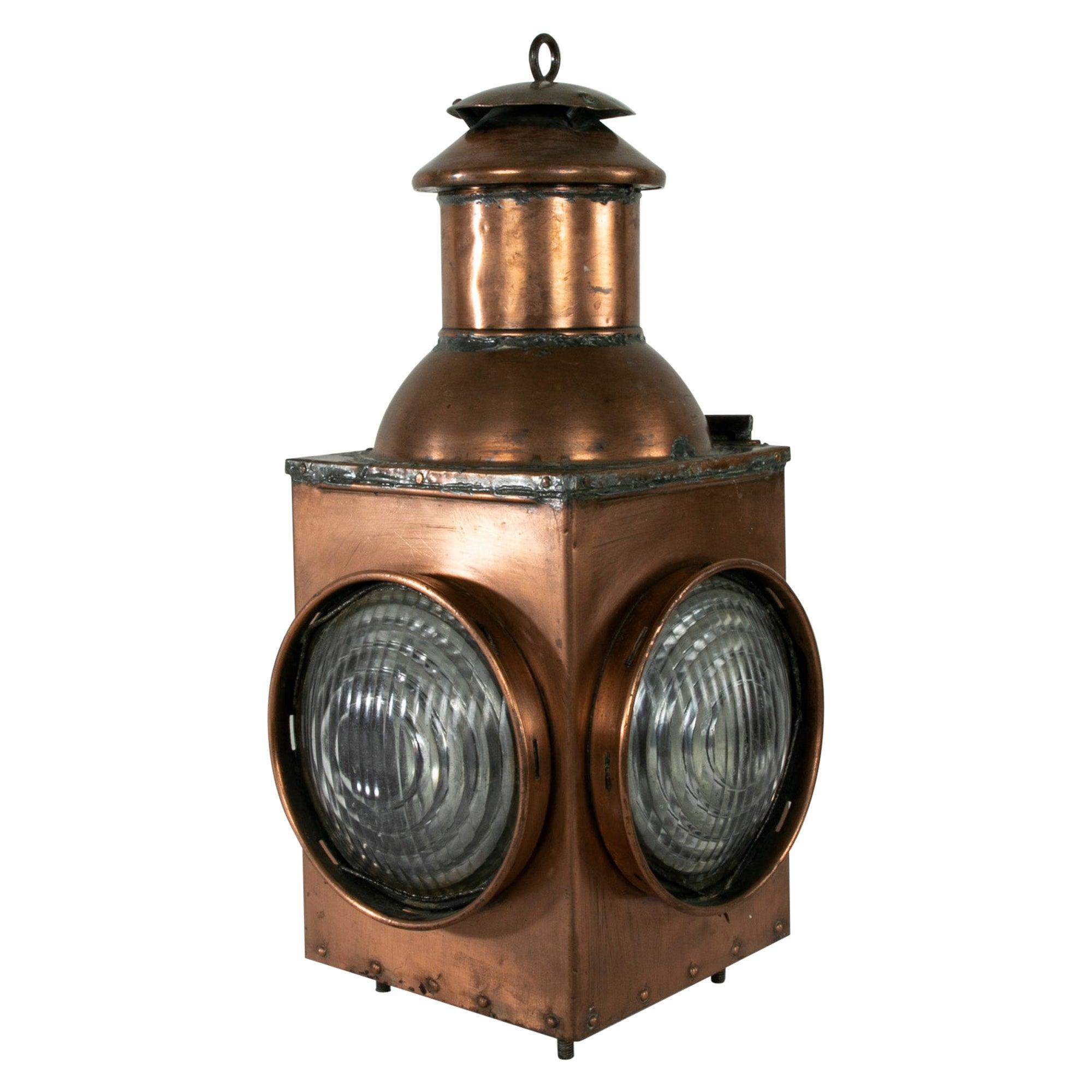 Late 19th Century French Copper Railroad Lantern