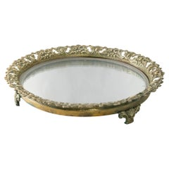 Early 20th Century French Footed Bronze Vanity Tray with Mirror