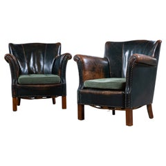 Pair of 1930-40's Classic Danish Club Chairs in Green Patinated Leather