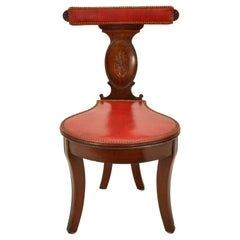 Antique Georgian Mahogany Red Leather Library Reading Cockfighting Chair, 1800