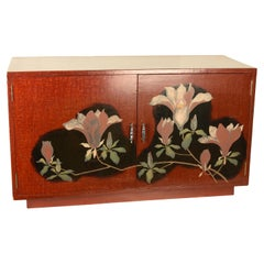 Vintage Japanese Red Lacquer Cabinet with Magnolia Design, Showa Period