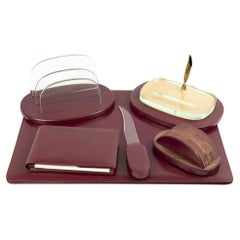 Vintage Leather Desk Complete Set, Mid-20th Century
