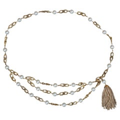 Chanel Vintage 1980s Gold Chain Link Belt with Pearls Beaded Tassel Swag