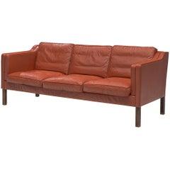 Børge Mogensen Sofa Model 2213 in Red Leather