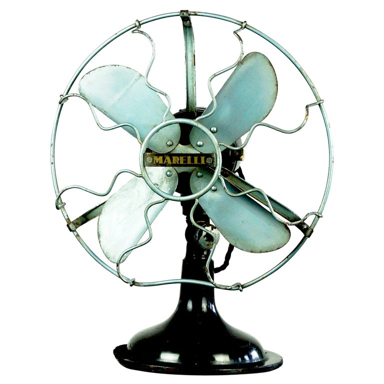 0riginal Vintage Industrial Art Deco Table Fan by Marelli Italy For Sale