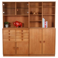 Large Solid Oak Wall Cabinet from  Kurt Ostervig  5 Parts 1970s