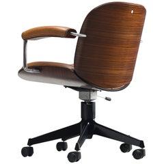 Ico Parisi for Mim Roma 'Terni' Swivel Desk Chair in Walnut
