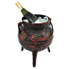 Unique Spanish Folk Hand-Painted Kitchen Pot or Cauldron in Cast Iron