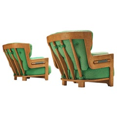 Guillerme & Chambron Lounge Chairs Model 'Denis' in Solid Oak