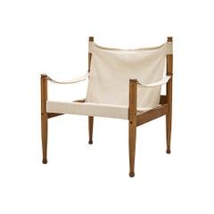 Erik Wørts Safari Lounge Chair with Cream Canvas
