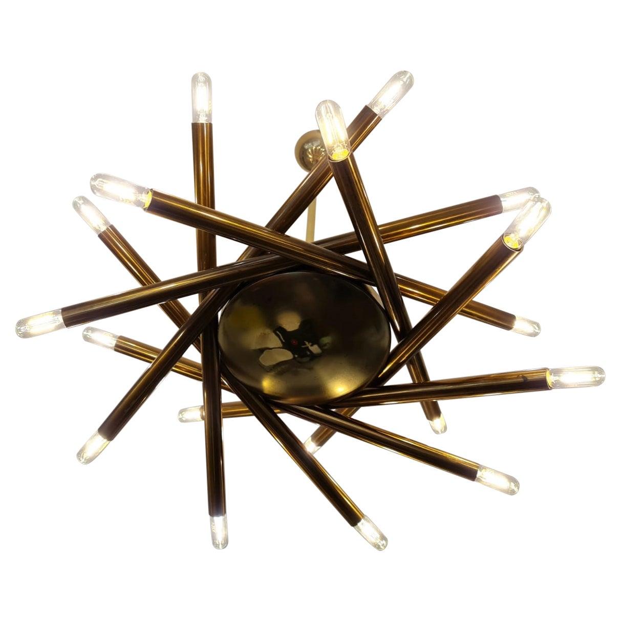 Rare Original Brass Sputnik Ceiling Lamp by Stilnovo, Italy, 1950