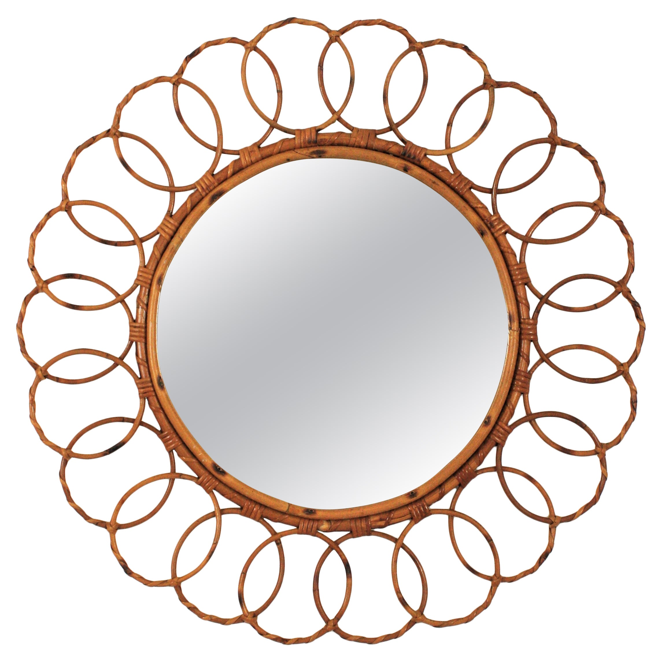 Rattan Round Mirror with Rings Frame, 1960s