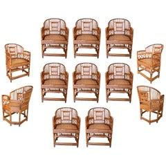 Set of Twelve 1950s Philippine Hand Woven Bamboo Armchairs