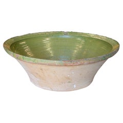 "1930s Spanish ""Lebrillo"" Large Green Glazed Ceramic Bowl"