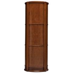 Circular Italian Cabinet with Sliding Doors in Walnut