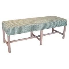 Modern Spanish Upholstered 6-Leg Wooden Bench