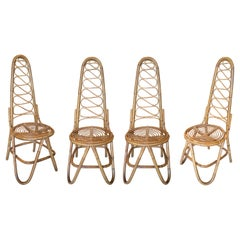 Set of Four 1970s Spanish Woven Bamboo High Back Chairs