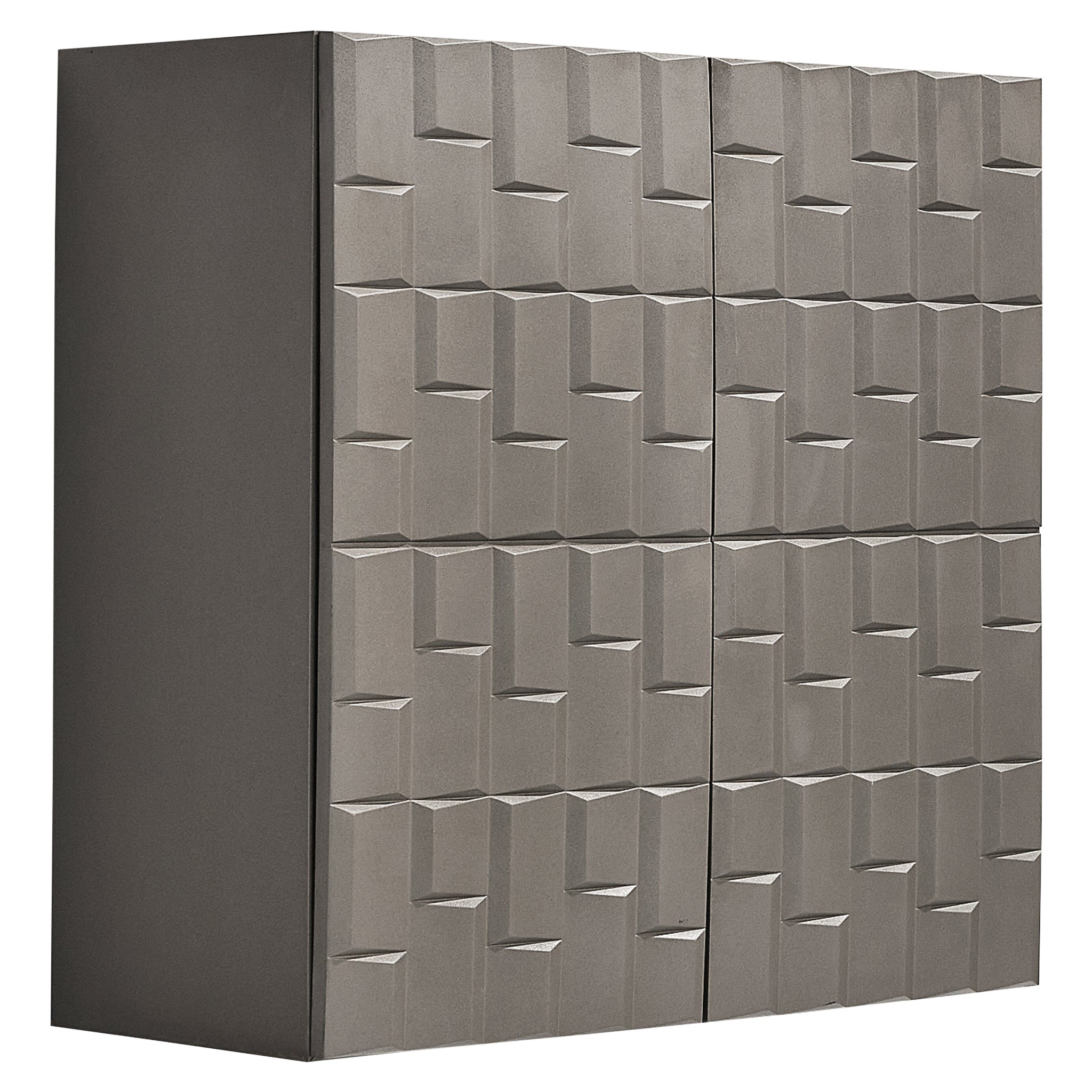 Brutalist Wall-Mounted High Board in Soft Grey Color