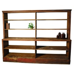 1930 Mercantile General Store Open Shelving  Storage Cabinet