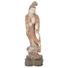 Chinese Carved and Painted Wood Sculpture of Guanyin