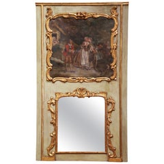 18th Century French Louis XVI Painted and Gilt Wood Trumeau Wall Mirror