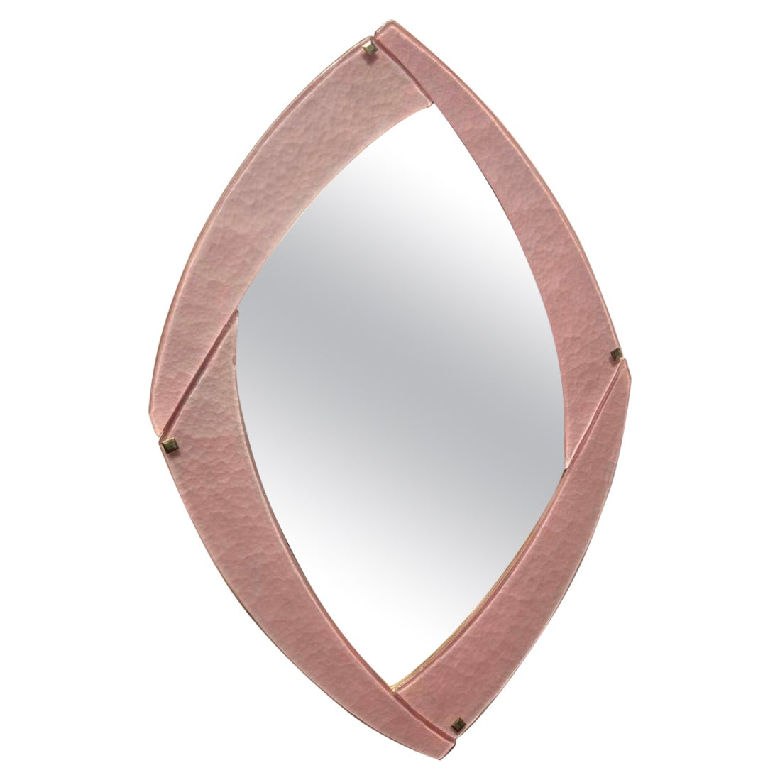 Murano Pink Glass and Brass Mid-Century Wall Mirror, 2020