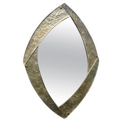 Murano Silver Glass and Brass Mid-Century Wall Mirror, 2020