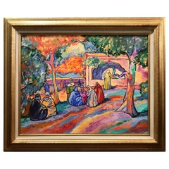 """Pres de la Fontaine"" Tunis Oil on Canvas by Pat F. Wilson"