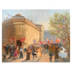 Oil Painting of the Russian National Day Celebration by Molodtsov