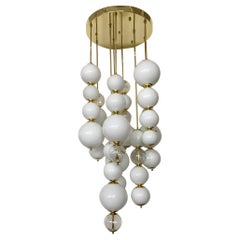 Murano Art Glass Round White Color and Transparent Chandelier, 1980