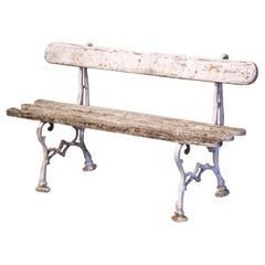 Early 20th Century French White Painted Wood and Cast Iron Garden Bench