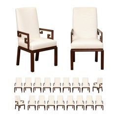 All Arms, Sublime Set of 20 Greek Key Chairs by Michael Taylor, circa 1970