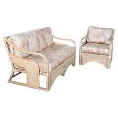 Cerused Reeded Rattan Love Seat & Lounge Chair Organic Modern