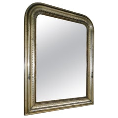 French Louis Philippe Silver Gilt Wall Mirror with Orig. Wood Backing, C. 1830