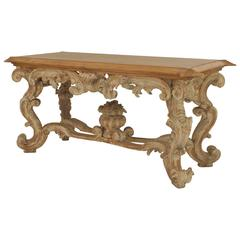 Turn of the Century Italian Rococo Style Stripped and Carved Center Table