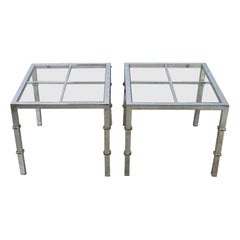 Hollywood Regency Chrome & Glass Square End Tables Brass Details a Pair