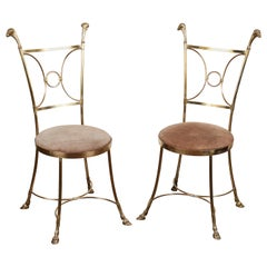 Pair of Solid Brass Chairs in the Manner of Maison Jansen