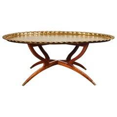 Moroccan Brass Tray Coffee Table on Mid-Century Style Base