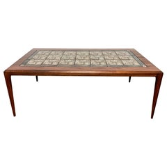 Johannes Andersen Rosewood Coffee Table with Thorsson Royal Copenhagen Tiles