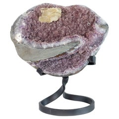Pink Druzy Amethyst Sculptural Formation with Central Calcite Crystal