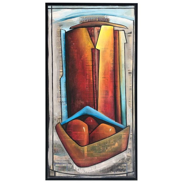 Abstract Mixed Media Painting, Juan Navarette Cuban-American Artist For Sale