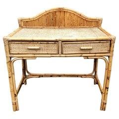Vintage Bamboo and Rattan Desk