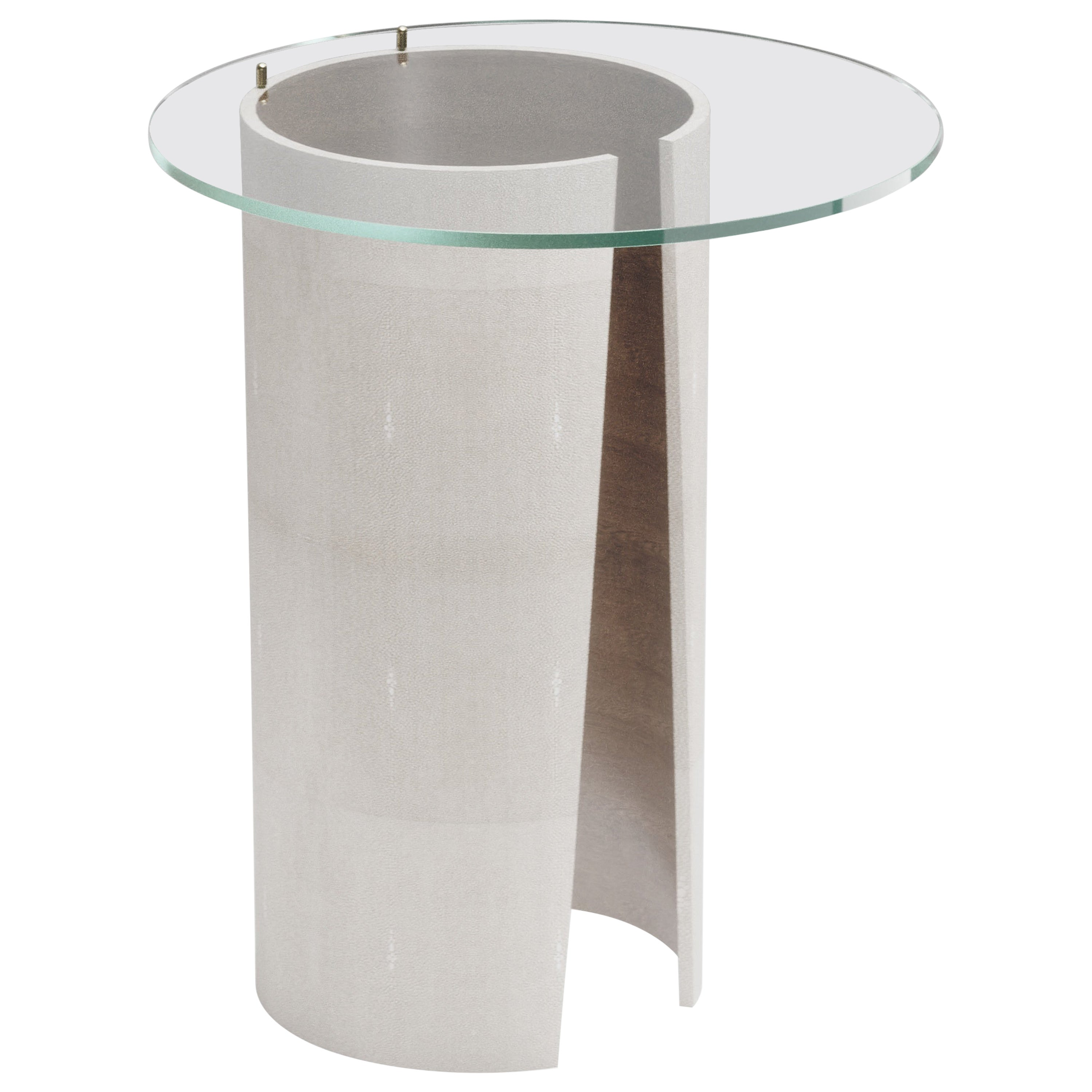 Shagreen Side Table with Glass Top by R&Y Augousti