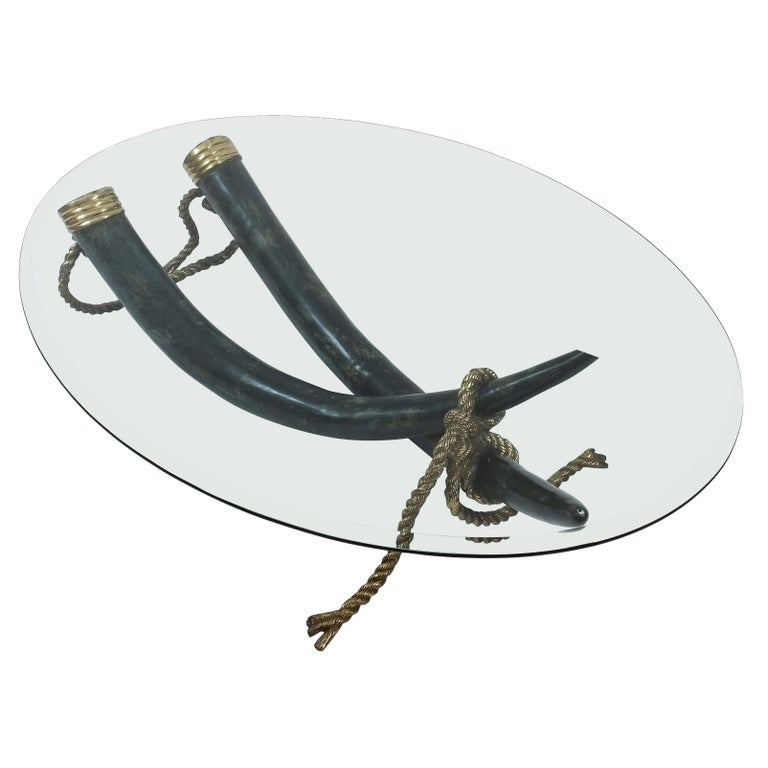 Large Bronze Brass Elephant Tusk Table Base by Italo Valenti For Sale