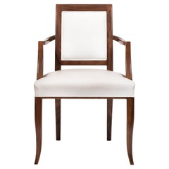 Contemporary Style Walnut Chair with Armrests, Made in Italy