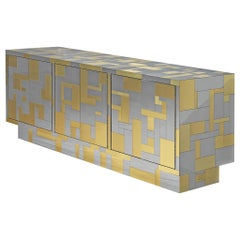 """Paul Evans for Directional """"Cityscape II"""" Sideboard in Chrome and Brass"""