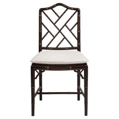 Chinese Chippendale Style Chair, Wood Frame, Caned Seat, Made in Italy