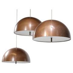 Set of 3 Danish 60's Copper Pendant Lamps by Designer Jo Hammerborg D179