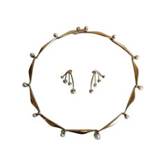 Bent Knudsen Secmented Necklace and Earsticks in 14 K Gold with Pearls